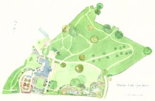watercolour map of gardens